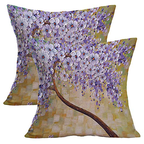 Treely Oil Painting Tree Throw Pillow Case Cotton Linen Decorative Cushion Cover Flowers for Sofa Bedroom Car 18 x 18 Inch,2 Pack(Style 17)