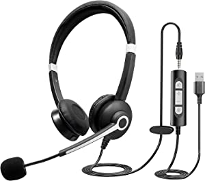 Infurture USB Headset Computer Headset with Noise Cancelling Microphone,Lightweight PC Headset Office Headphones Wired Headphones USB/3.5MM Headset for Skype Webinar Cell Phone Call Center