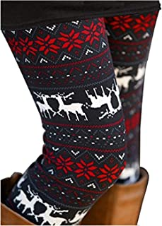 Womens Ultra Soft Brushed Christmas Leggings Pants Ankle Length,XS-3XL …