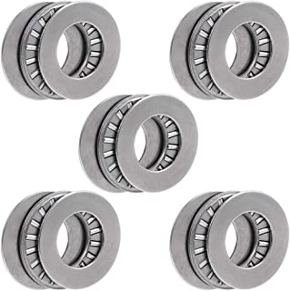 uxcell Tc1018 Needle Roller Thrust Bearings with Washers 5/8-inch Bore 1-1/8-inches Od 5/64-inch Width 16000rpm Limiting Speed 5pcs