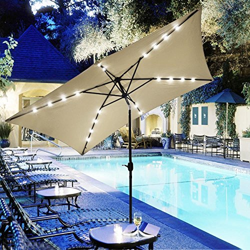 Yescom 10x6.5ft Outdoor Rectangle Solar Powered LED Lighted Patio Umbrella with Crank Tilt for Table Market Beach Pool