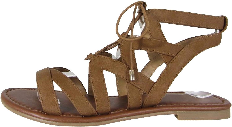 Cambridge Select Women's Crisscross Ankle Strappy LaceUp Tie Cutout Flat Ghillie Sandal (8 B(M) US Tan NBPU)