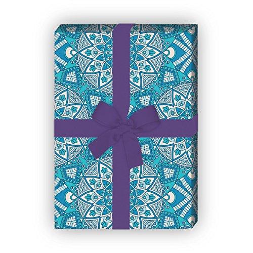 Kartenkaufrausch Designer ethno cadeaupapier set met boho bloemen voor leuke cadeauverpakking, designpapier, 4 vellen, 32 x 48 cm decorpapier, inpakpapier in lichtblauw
