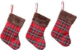 Hergon Buffalo Jupe de Sapin de Noël à Carreaux Rouges et Noirs avec Lot de 3 Bas de Noël, Double Couche