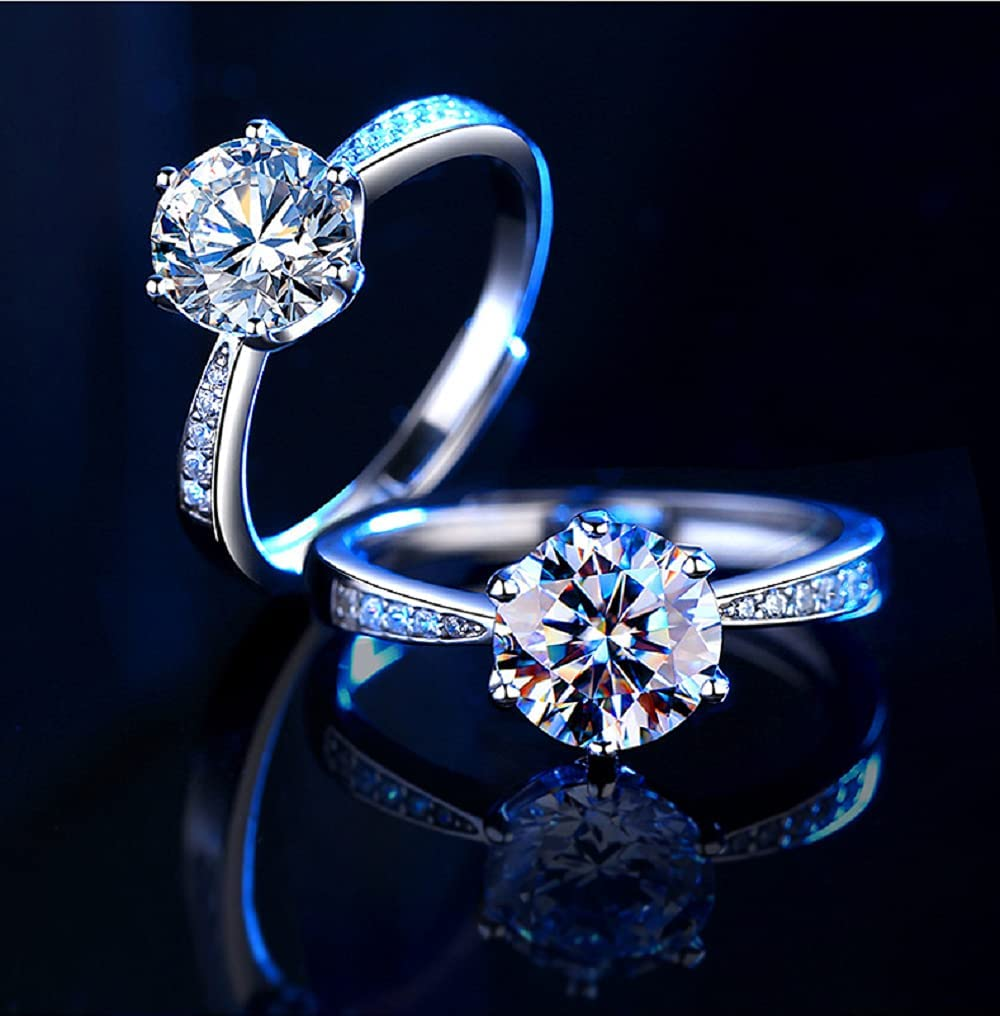 925 Sterling NEW before selling Silver six-Claw high Diamond 2 Beauty products moissan Carat Carbon