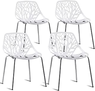 Giantex Set of 4 Modern Dining Chairs Birds Nest Set Modern Stackable Plastic Hollow-Out Geometric Style Furniture Outdoor Indoor Dining Side Chair (4 Packs, White)