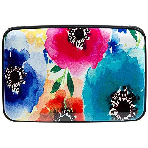 Vichline Aluminum RFID Blocking Slim Metal Wallet Credit Card Holder for Men Women (Colorful Watercolor Flowers)