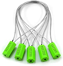 Pull-Tite Steel Security Cable Wire Seals Numbered Anti-Tamper Freight Containers–Mechanical Seals Security Tags-Ties for Doors (Green, Pack of 50pcs)