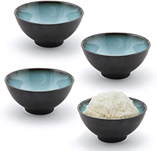 Happy Sales HSRSB-BLUGRY4, Japanese Style Rice Bowls, Soup, Cereal, Dessert Bowls 4 pc, Grey Blue