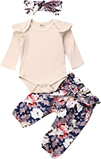 Newborn Baby Girls Outfits Ruffle Knitted Solid Romper + Floral Pants + Floral Headband 3pcs Clothes Set