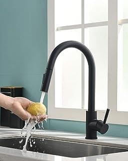TIMACO Schwarz Küchenarmatur mit Ausziehbare Brause Wasserhahn Küche 360° Schwenkbar Mischbatterien für Küche Armatur Einhandmischer für Küchen Spüle Spültischarmatur