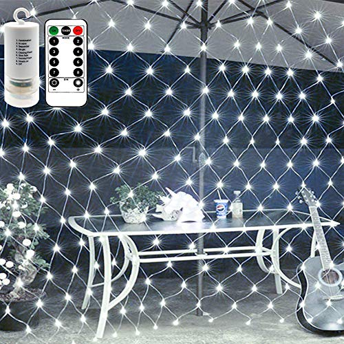 Battery Operated 200 LED Net Lights w/Remote & Timer, 3 X 2 Meters Outdoor LED Net Mesh String Lights for Wedding Backdrops, Christmas, Holiday, Camping Decor (8 Modes, Dimmable, Cool White)
