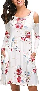 t Shirt Dress for Women,👍ONLY TOP👍 Women's Summer Dresses Long Sleeve Swing Dress Casual Mini Dress with Pockets