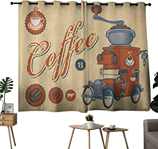 NUOMANAN backout Curtains for Bedroom Retro,Artsy Commercial Design of Vintage Truck with Coffee Grinder Old Fashioned, Cream Orange Grey,Pocket Thermal Insulated Tie Up Curtain 42