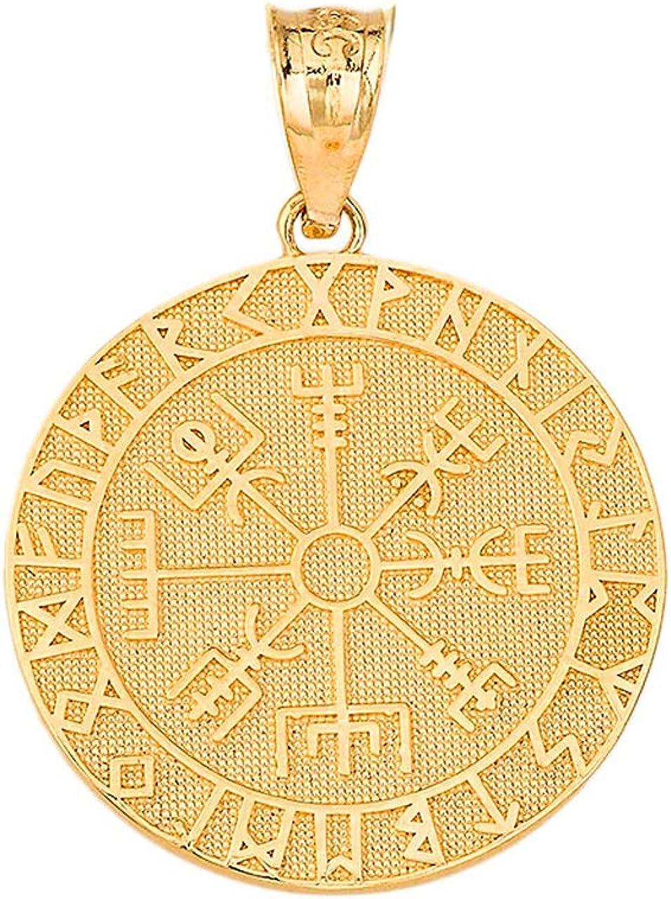Certified 10k Gold Viking Odin Symbol Rune Amulet Pantgram Vegvisir Compass Pendant