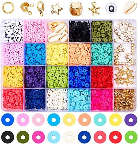 wuudi Abalorios de colores Fai-da-Te para joyas, pulseras, creación de joyas, kit de cuentas, pulseras, collares, manualidades, kit de regalo de cuentas para niñas