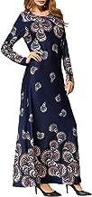 Women's Vintage Maxi Dress, Ladies Abaya Casual Loose Long Sleeve Floral Printed Islam Ethnic Muslim Dress Robe