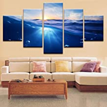 Wangjru 5 Piece Art Wall Hd Prints Canvas Poster Modular Picture Sea Landscape Sunrise Home Decoration Painting Abstract F...