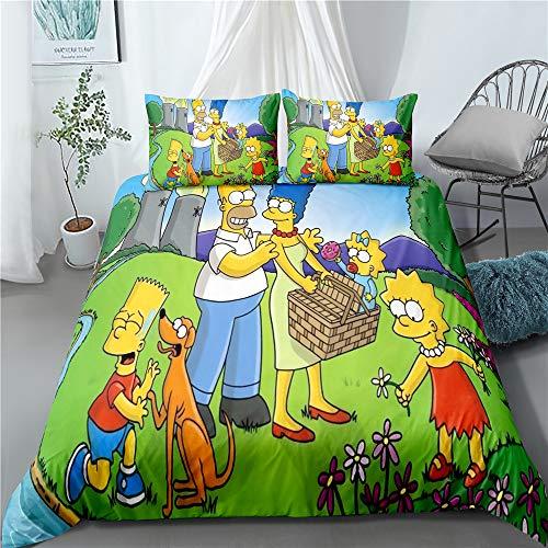 WFBZ Simpson Bettbezug Bettwäsche Set - Bettbezug Und Kissenbezug,The Simpsons - Microfaser Bettwäsche (14,135x200+80x80cmx1)