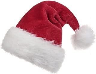 Unisex-Adult's Santa Hat, Velvet Christmas Hat with Plush Trim &and Comfort Liner