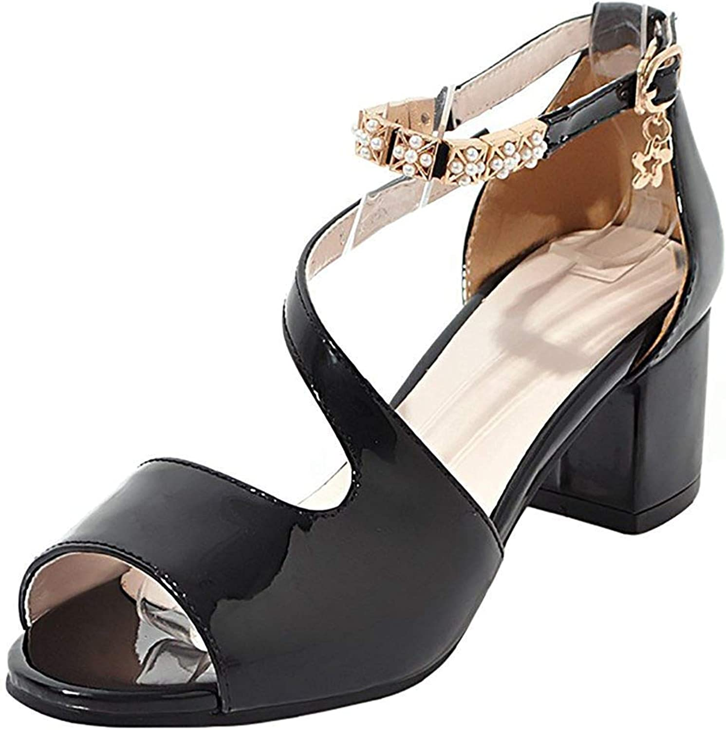 Wallhewb Women's Basic Beaded Buckle Peep Toe Ankle Strap Mid Chunky Heel Pumps Sandals Leather Evening Dress No Grinding Feet Closed Back Ankle Strap Party Low Top Fashion Black 8 M US Pumps Sandals