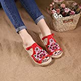N&W Embroidered Shoes Lotus Embroidered Women Linen Cotton Flat Slide Slippers Summer Ladies Handmade Comfortable Open Toe Espadrilles Shoes Old Beijing Embroidered Shoes (Color : Red Size : 4)