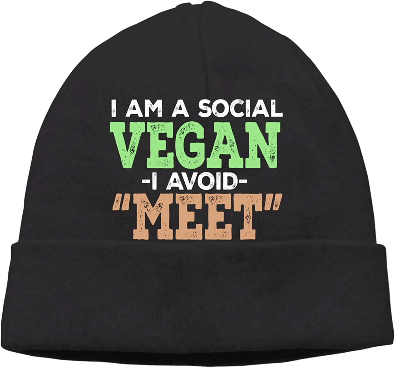 Social Vegan I Avoid Max 40% OFF Bombing free shipping Meet Slogan Warm Hats Beanie Unisex Vin Cap