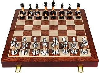 Jeu d'échecs Cadeau Ensemble d'échecs pliants en Bois Massif avec Rangement Interne Métal Métal Piatures d'échecs Gless Bo...