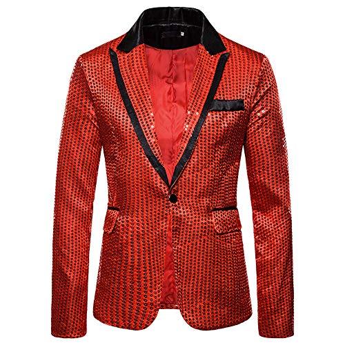 Herren Anzüge Pailletten Performance Kleid Anzüge Nightclub Herren Prom Party Kleid Halloween Cosplay Gr. L, rot