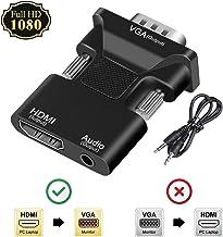 HDMI to VGA Adapter/Converter,FDG 1080P HDMI Female to VGA Male Converter Adapter 3.5mm Audio Cable