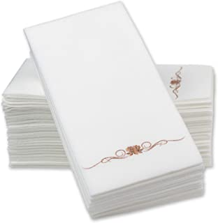 """12"""" x 17"""" Airlaid Paper Dinner Napkins - Rose Gold Foil Stamped 1/6 Fold Disposable Guest Hand Towels with Absorbent, Line..."""