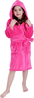 Hooded Herringbone Girl's Fleece Pink Soft Spa Kimono Long Robe,Kids Comfy Sleepwear Bathrobe