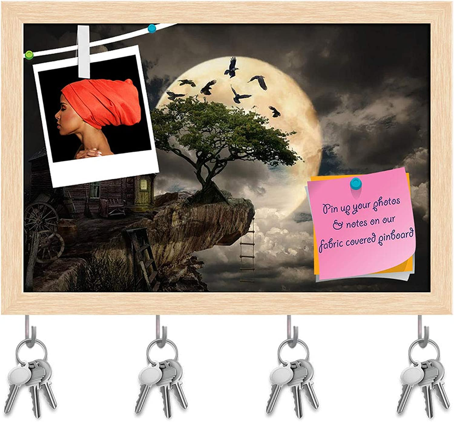 Artzfolio Fairy House Cliff Key Holder Hooks   Notice Pin Board   Natural Brown Frame 14.6 X 10Inch