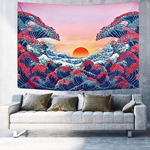 Coucher du soleil tapisserie océan Vague Tenture murale tapisserie japonaise tapisserie pour salon chambre Home Decor 150 * 200 cm