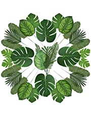 90 Pieces 6 Kinds Artificial Palm Leaves with Faux Monstera Leaves Stems Tropical Plant Simulation Safari Leaves for Hawaiian Luau Party Jungle Beach Theme Party Table Leave Decorations
