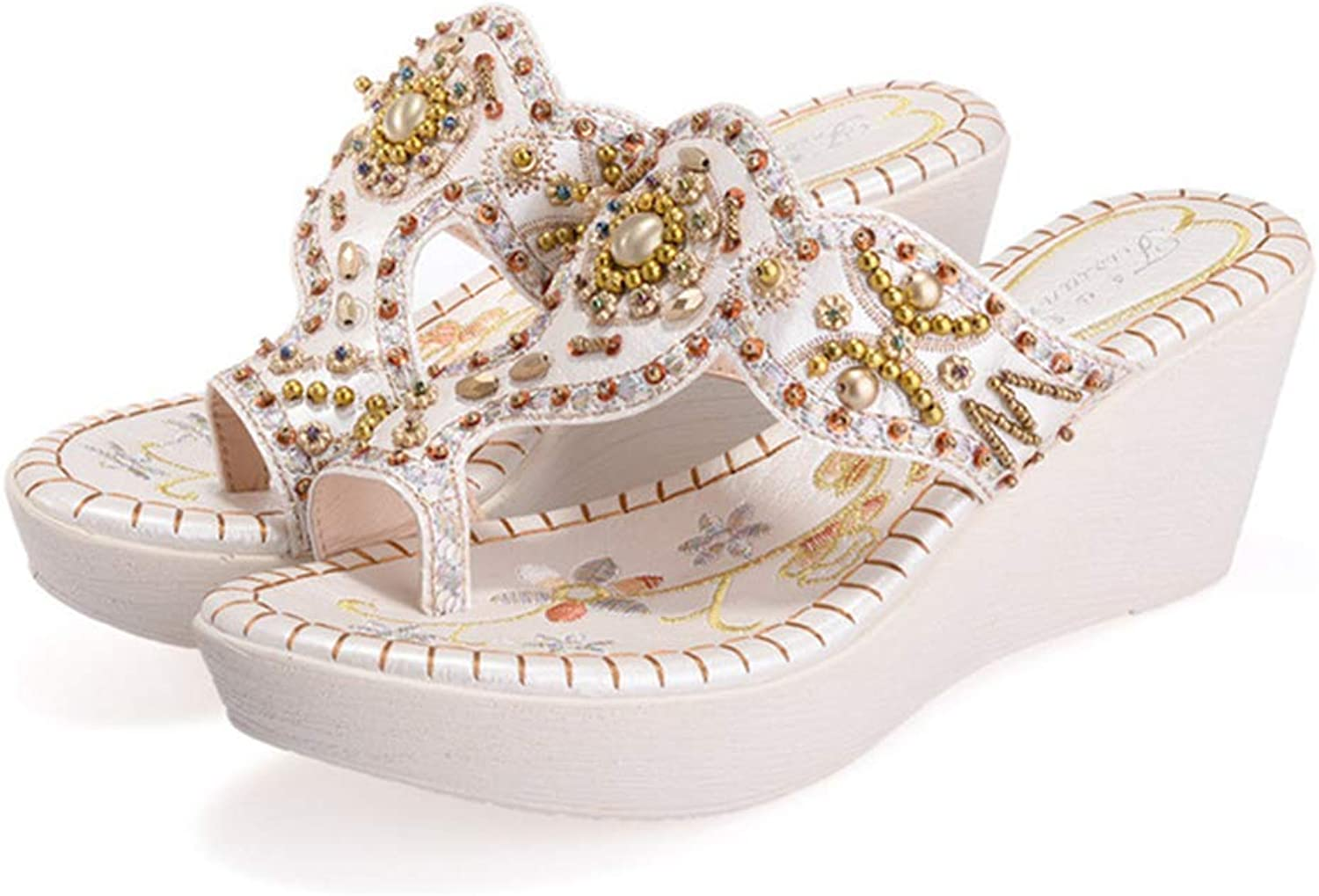 Baviue Womens Bling Beaded Leather Wedge Sandles Thong Sandals