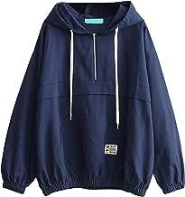 Romwe Women's Lightweight Kangaroo Pocket Anorak Sports Jacket Drawstring Hooded Zip up Windproof Windbreaker