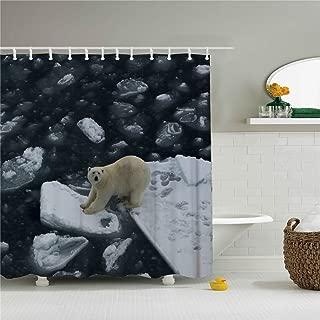 Creative Cute Panda And Polar Bear Bath Rainbow Fish Shower Curtain 72x72