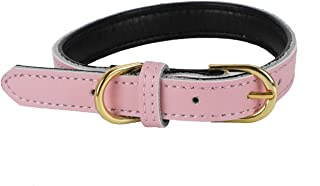 VIPITH Leather Dog Collar, Size Adjustable Pet Collar with Durable Brass Buckle for Small Medium Dogs Cats