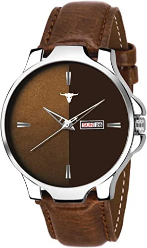 Analogue Men s Boy s Day and Date Watch Brown Dial Brown Colored Strap BRW385