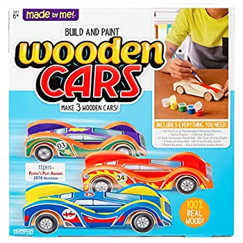 Made By Me Build & Paint Your Own Wooden Cars by Horizon Group Usa DIY Wood Craft Kit Easy To Assemble & Paint 3 Race Cars Multicolored