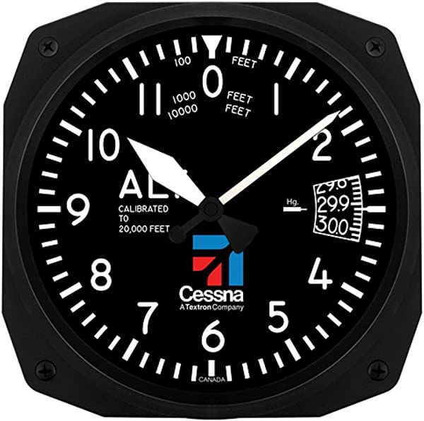 Trintec Aviation Cessna Altimeter Instrument Style 12 Hour 10 Wall Clock 3060 10CES