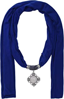 Jinsen Women's Scarf Necklace with Fashion Stone Pendant Solid Color Scarf (sf000089)
