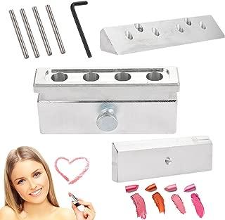 DIY Lipstick Mold, Aluminum Alloy Lip Balm Mold Holder Cosmetic Lipstick Making Kits Lip Gloss Balm Fill Maker Molding Tools(4 Hole Three Use)