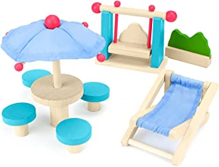 Imagination Generation Wooden Wonders Playful Patio Set, Colorful Dollhouse Furniture (8pcs.)   Mini Doll House Accessories and Furniture   Kids Toy for Girls and Boys of All Ages