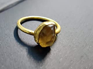 Size 6 US Raw Citrine Crystal Ring for Women Healing Stone Chakra Gemstone 925 Sterling Silver Gold Plated Silver Irregular Shape Ring