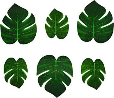 Artificial Palm Leaves 36pcs Fake Large Green Leaf,Faux Monstera Leaves Tropical Faux Leaves for Safari Jungle Hawaiian Luau