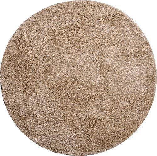 Grund Badteppich 32 mm 100% Polyacryl, ultra soft, rutschfest, ÖKO-TEX-zertifiziert, 5 Jahre Garantie, LEX, Badematte 100 cm rund, beige