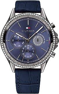 ساعة اري بمينا ازرق وسوار جلدي موديل 1781979 للرجال من تومي هيلفيجر