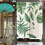 Oumefar Cortina divisoria de habitación de Estilo japonés, Hojas Verdes, Cortina divisoria de habitación Impresa, Cortina de Entrada, diseños fascinantes y duraderos, baño para Sala de Estar